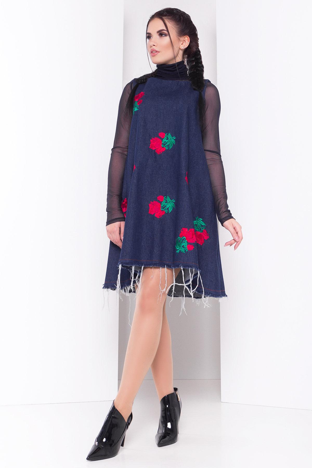 Платье Индира лайт 3448 Цвет: Джинс Темн Розы красные