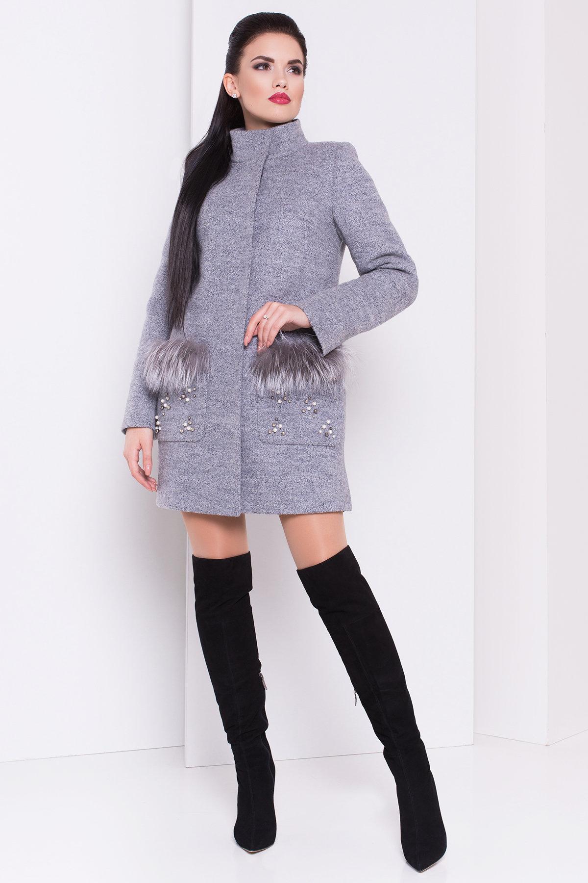 Пальто зима Ажен 3433 АРТ. 17862 Цвет: Серый 48 - фото 1, интернет магазин tm-modus.ru