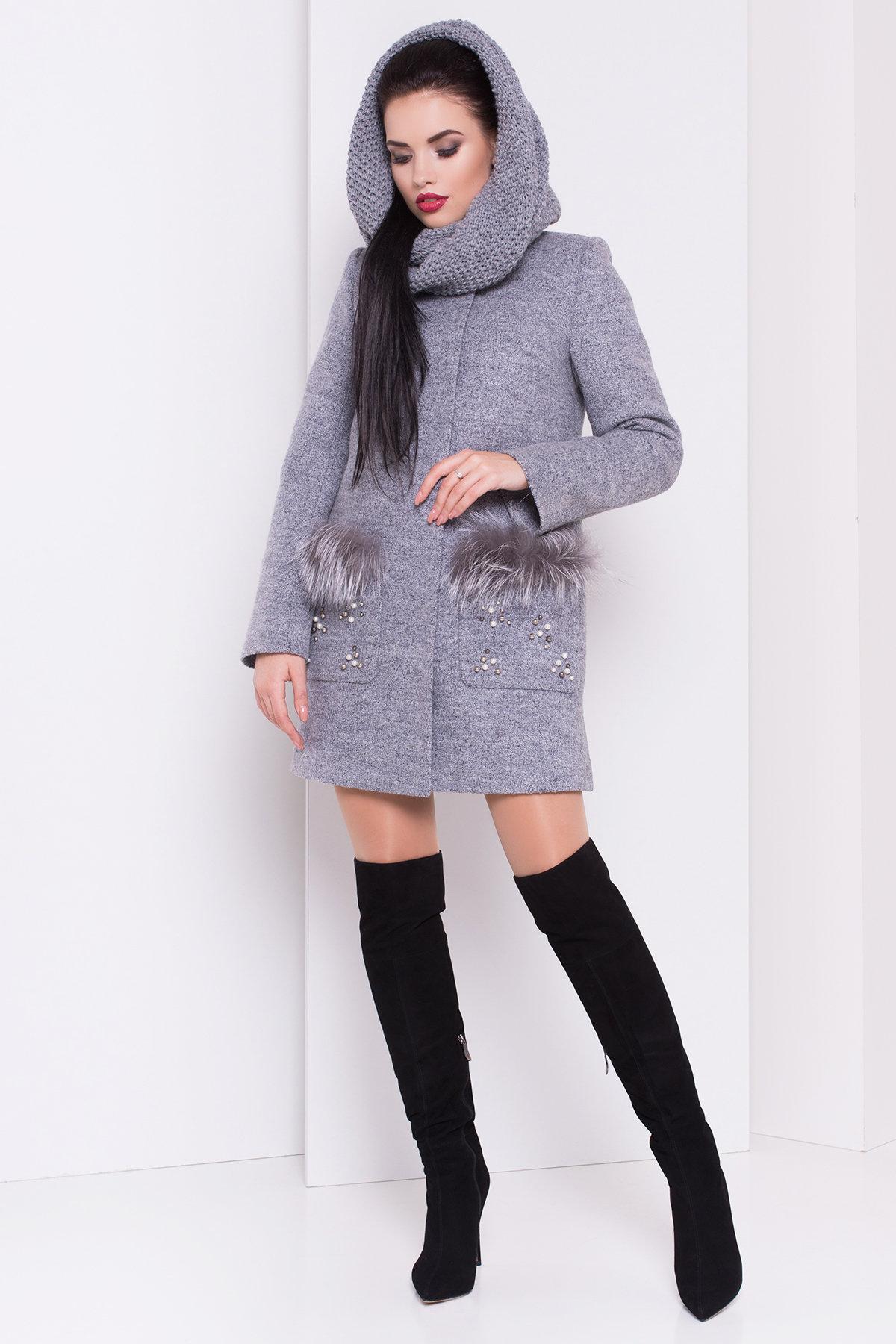 Пальто зима Ажен 3433 АРТ. 17862 Цвет: Серый 48 - фото 3, интернет магазин tm-modus.ru