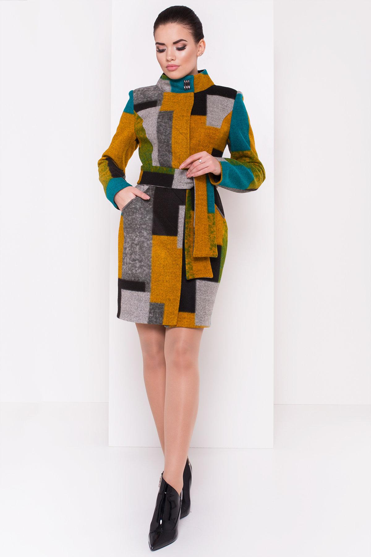 Пальто Луара 0505 Цвет: Черный/серый/бирюза Д3/С1