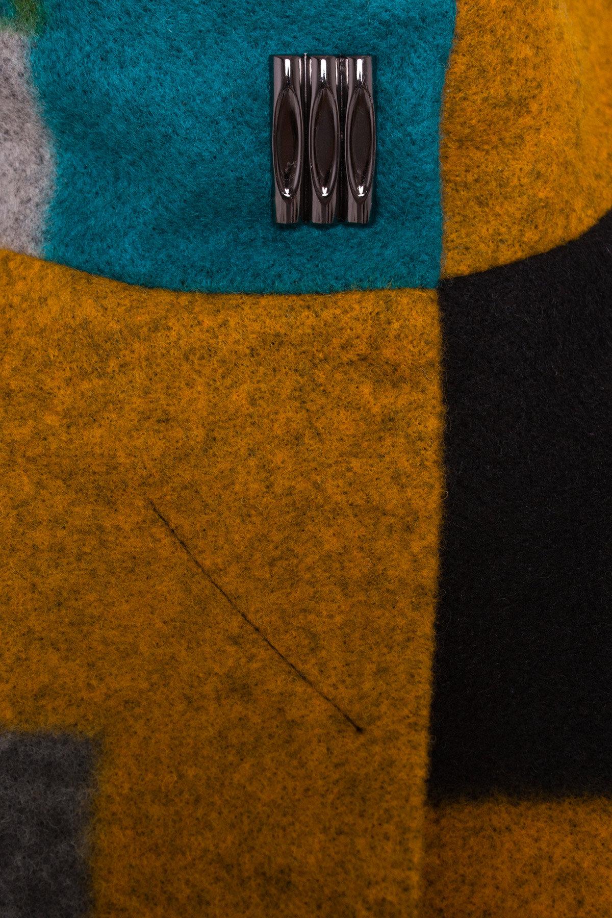Пальто Луара 0505 АРТ. 6991 Цвет: Черный/серый/бирюза Д3/С1 - фото 4, интернет магазин tm-modus.ru