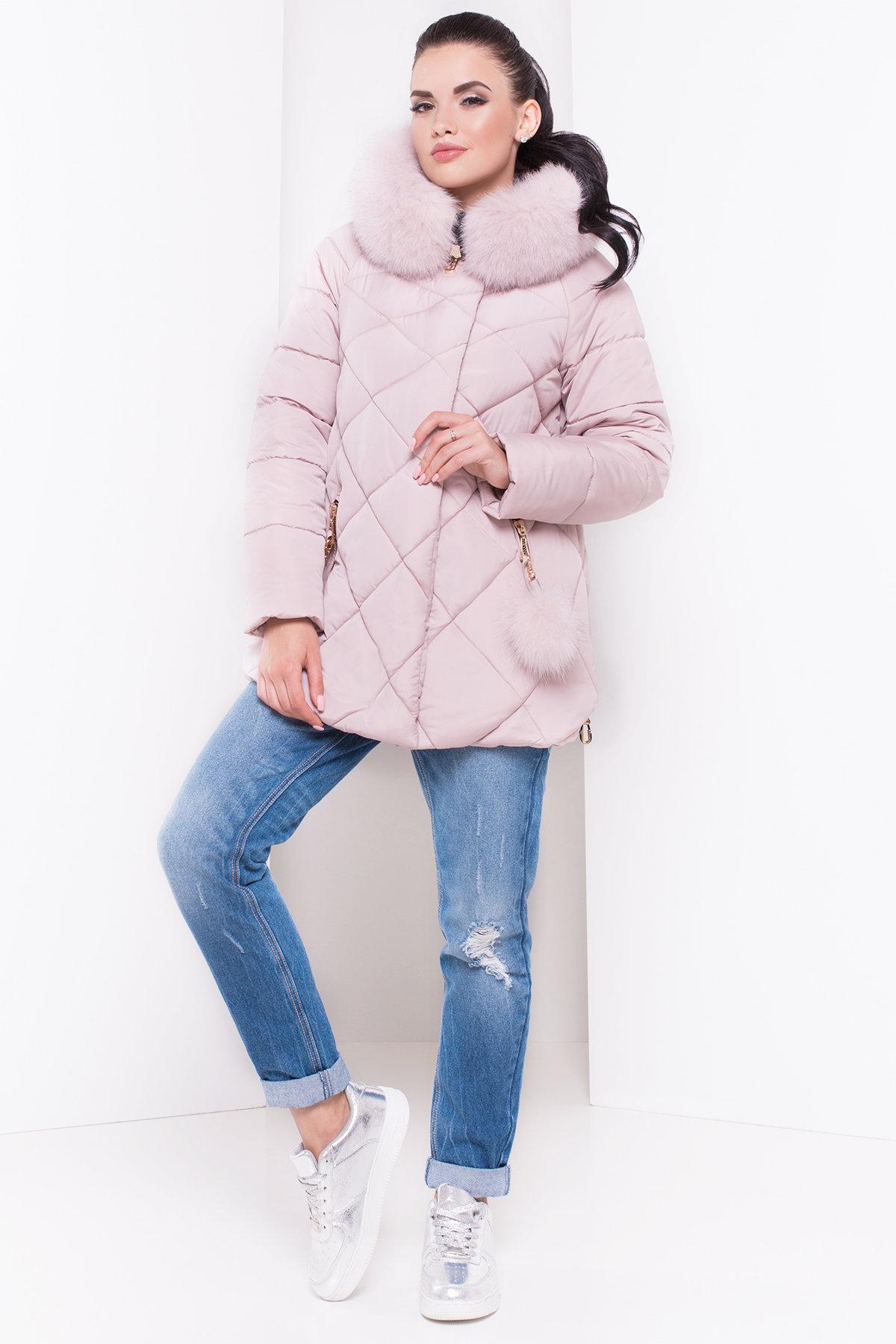 Короткий пуховик Ева 3112 Цвет: Серо-розовый