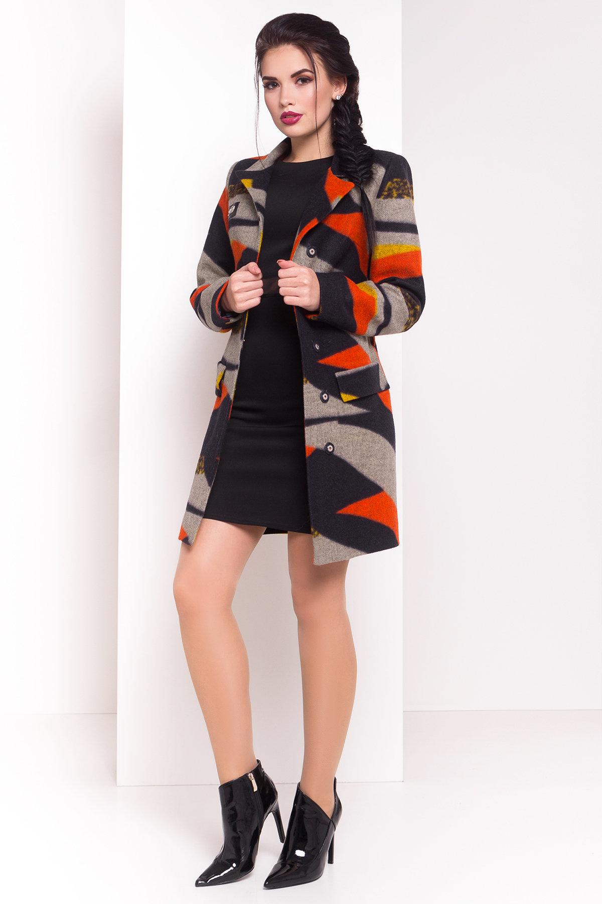 Пальто Микадо 1551  АРТ. 9220 Цвет: Тёмно-синий/серый/теракот/жёлтая-рябь Д1/С1 - фото 1, интернет магазин tm-modus.ru