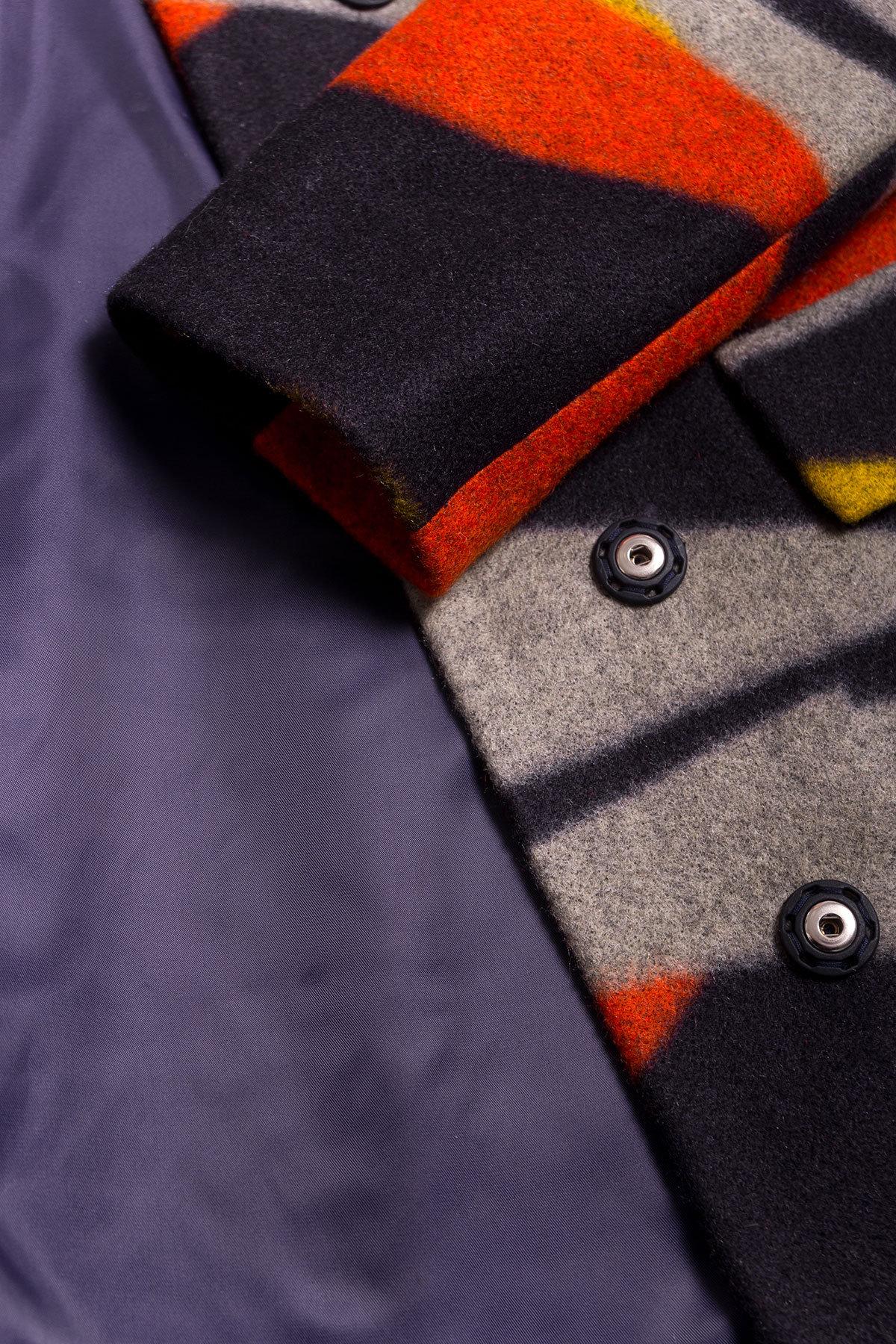 Пальто Микадо 1551  АРТ. 9220 Цвет: Тёмно-синий/серый/теракот/жёлтая-рябь Д1/С1 - фото 5, интернет магазин tm-modus.ru