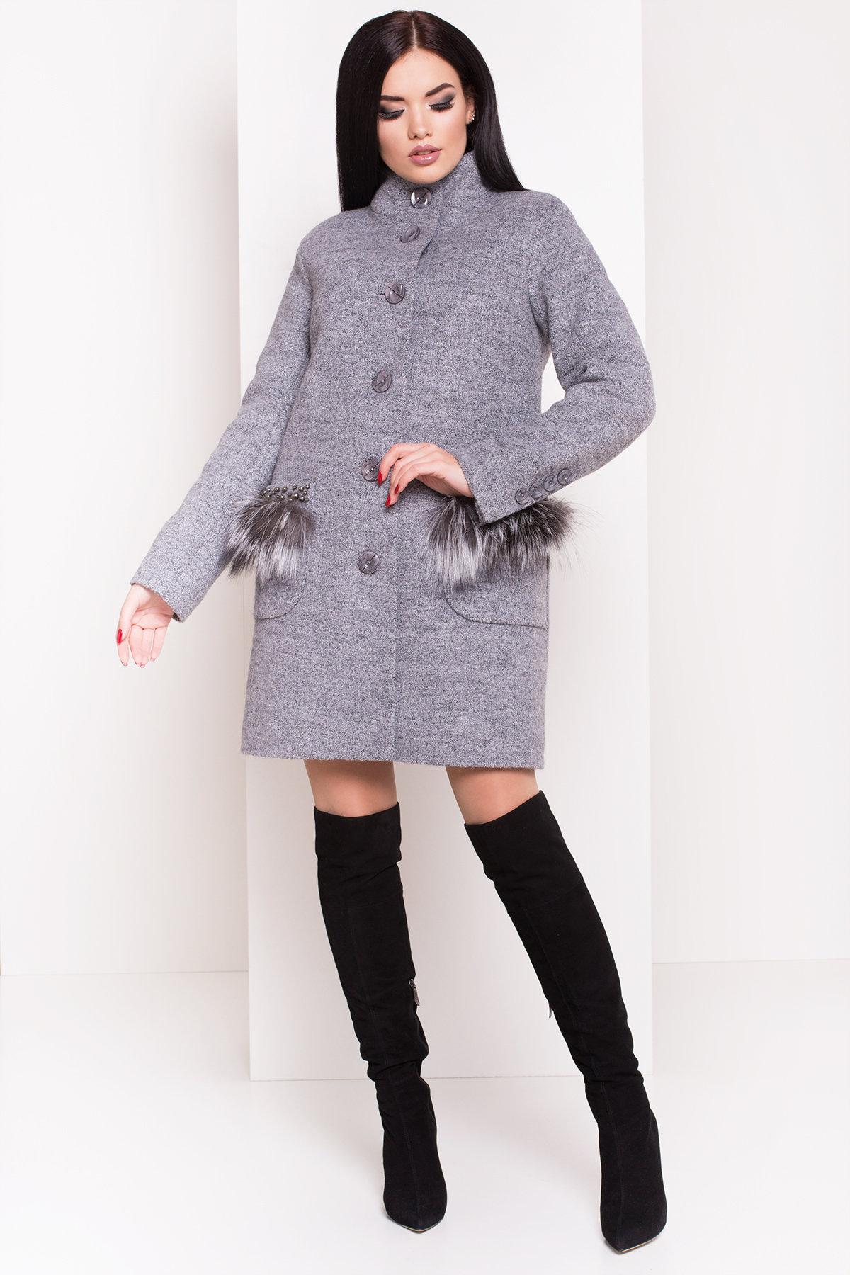 Пальто зима Этель 3692 АРТ. 19235 Цвет: Серый 48 - фото 1, интернет магазин tm-modus.ru