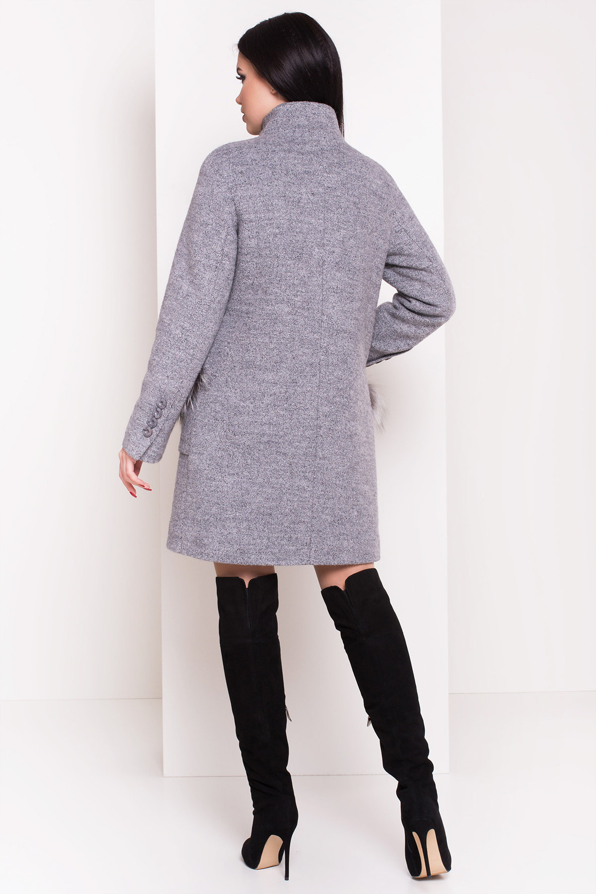 Пальто зима Этель 3692 АРТ. 19235 Цвет: Серый 48 - фото 3, интернет магазин tm-modus.ru