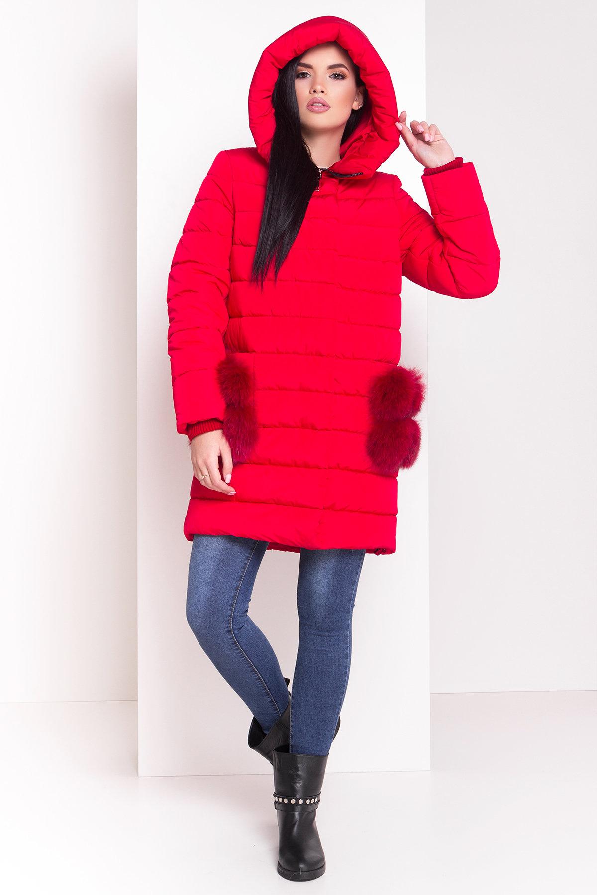 Пуховик с меховыми карманами Лили 3523 АРТ. 19110 Цвет: Красный - фото 3, интернет магазин tm-modus.ru