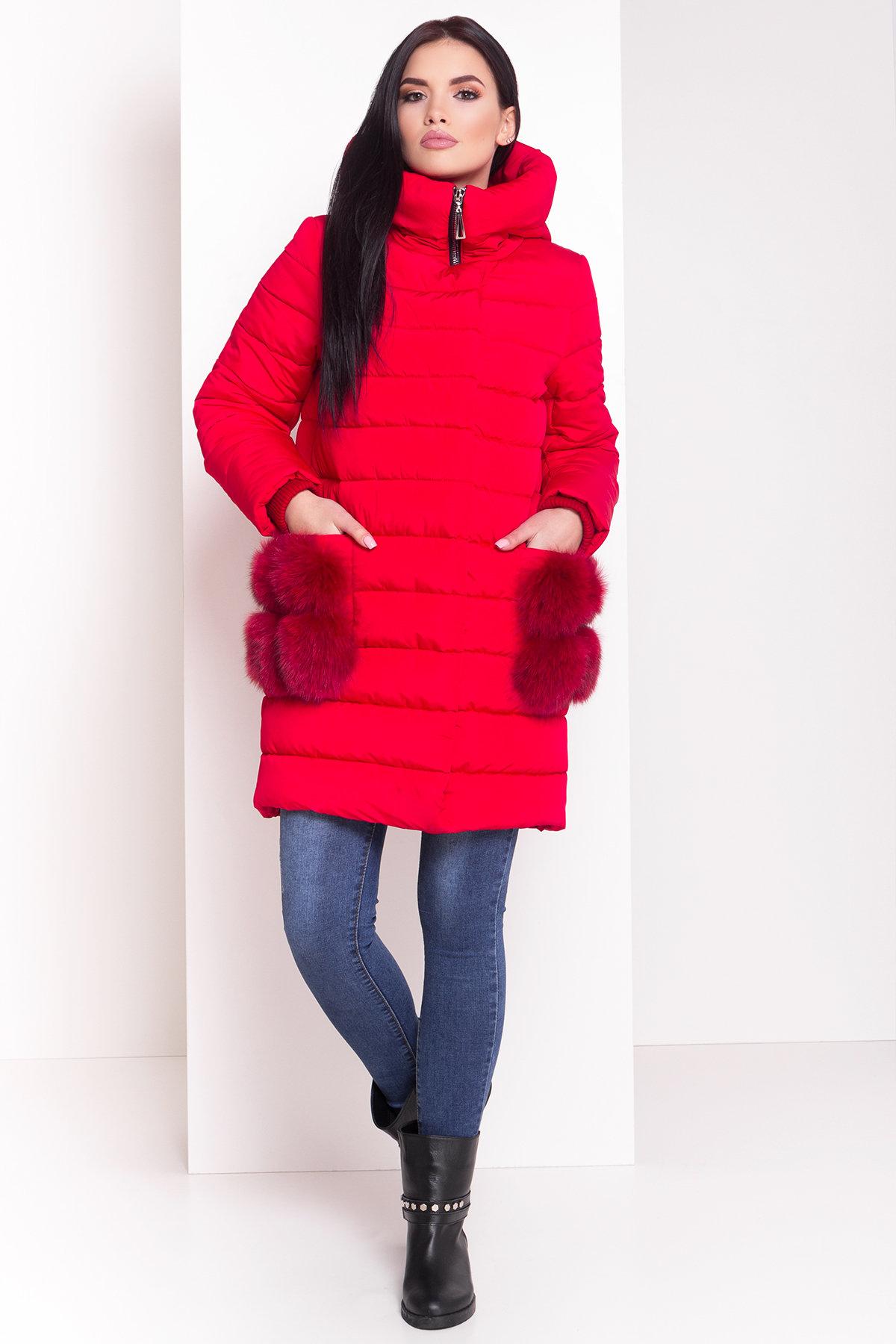Пуховик с меховыми карманами Лили 3523 АРТ. 19110 Цвет: Красный - фото 2, интернет магазин tm-modus.ru