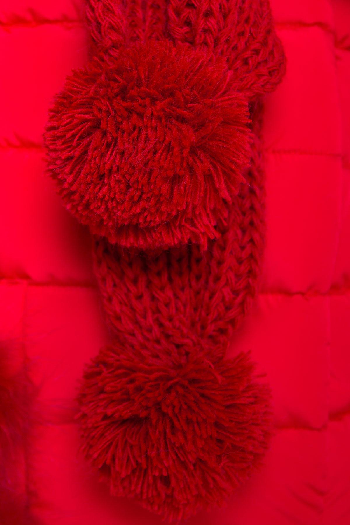Пуховик с меховыми карманами Лили 3523 АРТ. 19110 Цвет: Красный - фото 5, интернет магазин tm-modus.ru