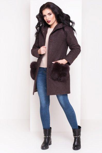 Зимнее пальто с меховыми карманами Анита 3820 Цвет: Шоколад