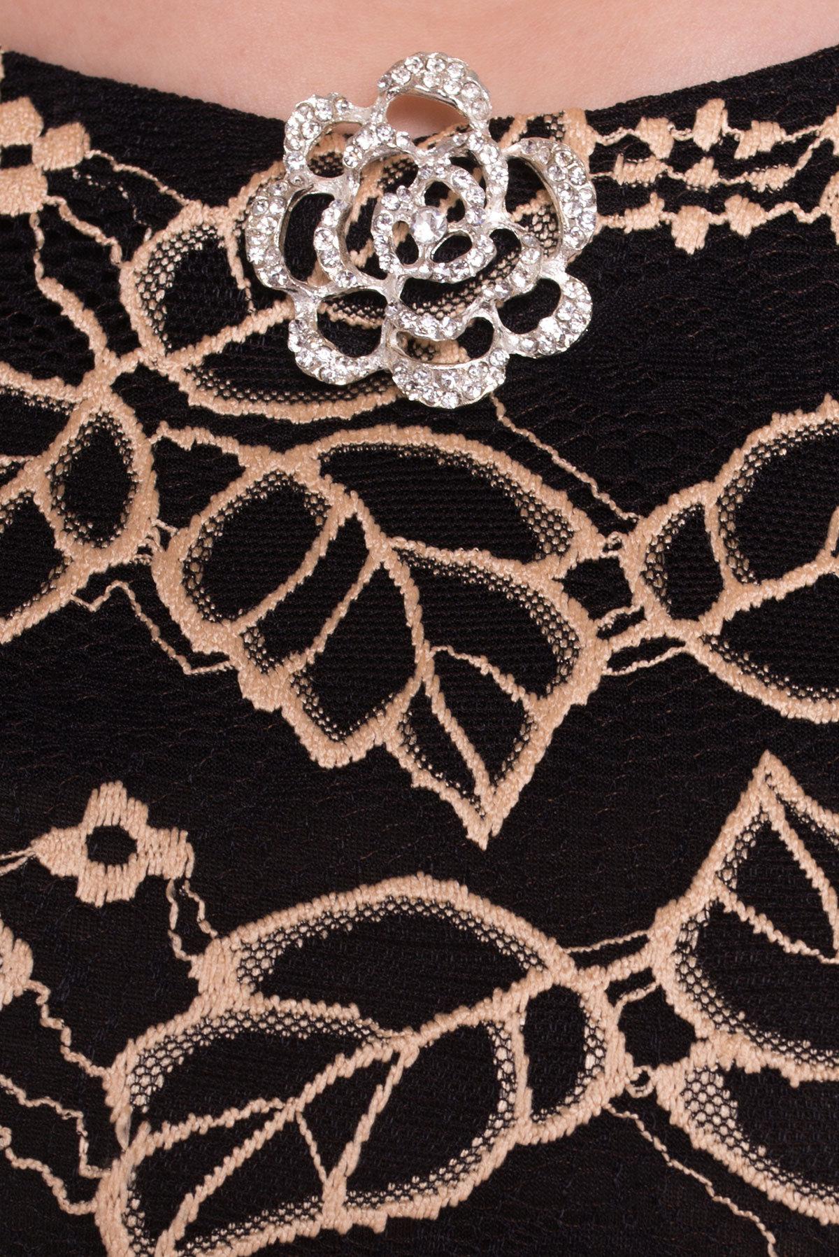 Платье Бурже 1303  Цвет: Бежевый / Черный