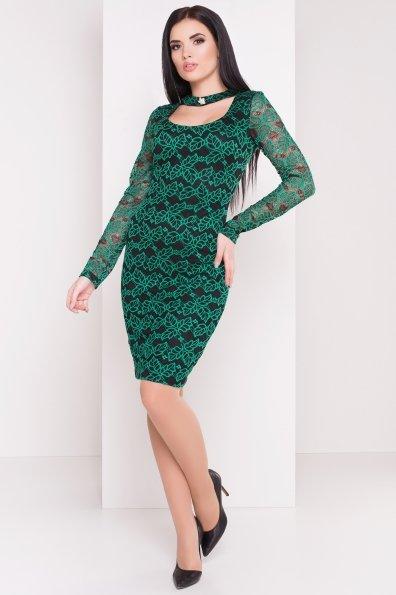 Платье Олифта 1208 Цвет: Зеленый / черный
