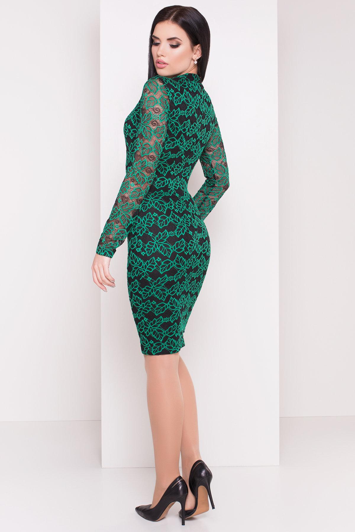 Платье Олифта 1208 АРТ. 8779 Цвет: Зеленый / черный - фото 2, интернет магазин tm-modus.ru