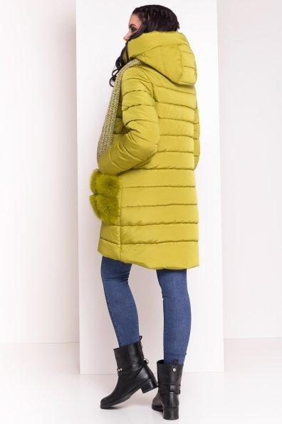 Пуховик с меховыми карманами Лили 3523 Цвет: Олива