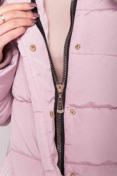 Пуховик с мехом Ари 4239 Цвет: Серо-розовый