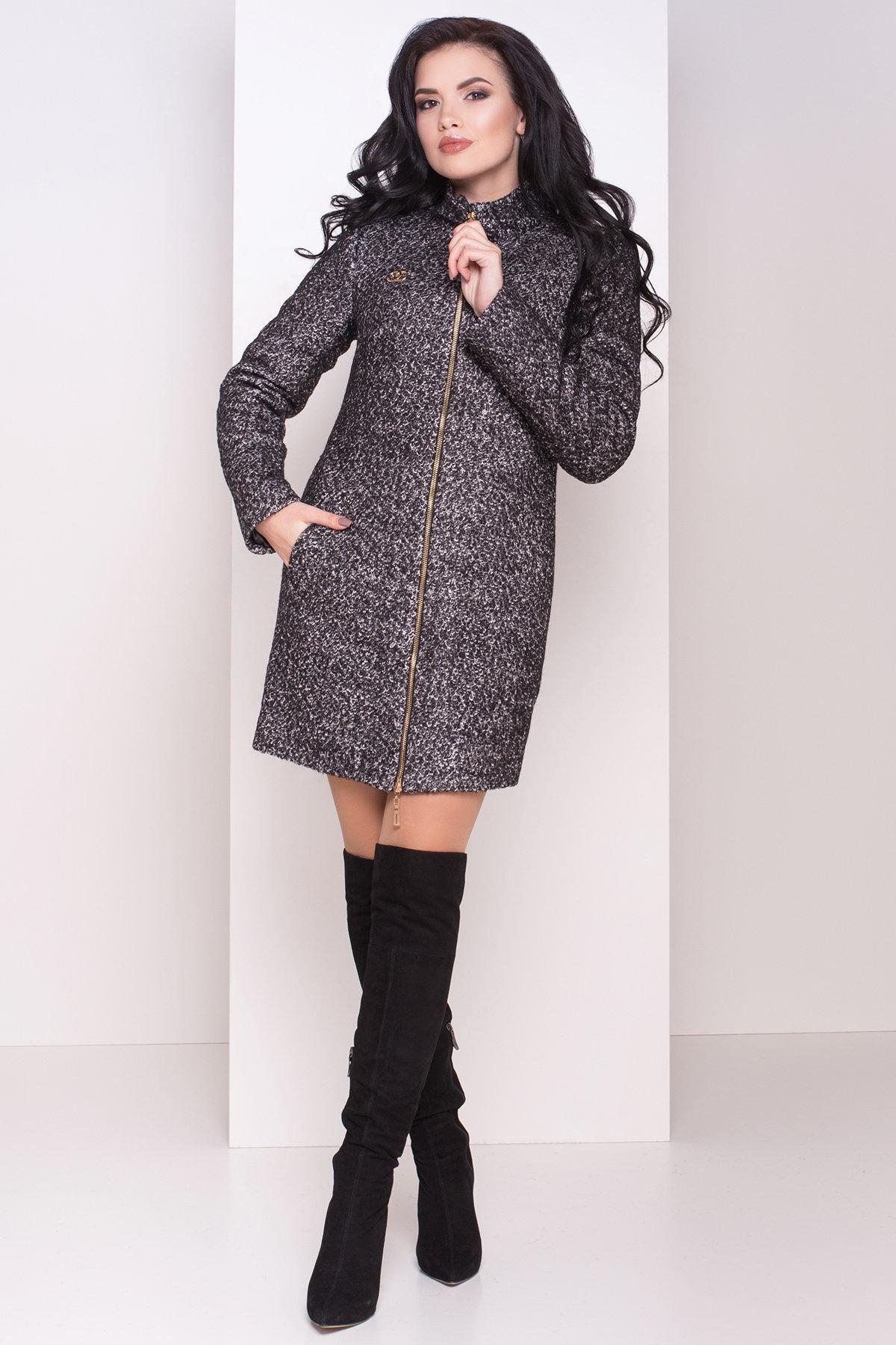 Зимнее пальто шерсть-букле Сан-Ремо 0939 АРТ. 8300 Цвет: Черный / серый 6 - фото 1, интернет магазин tm-modus.ru