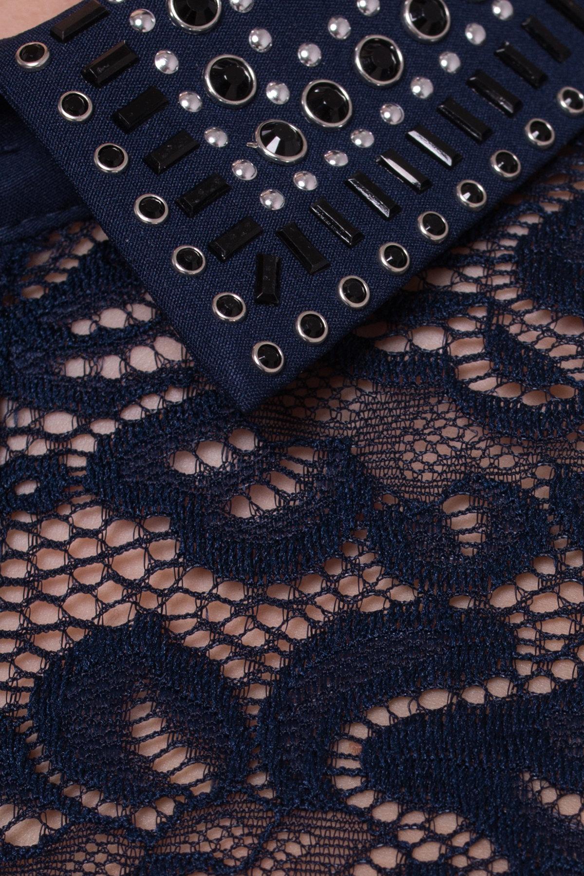 Платье с гипюровым верхом Элада 4188 Цвет: Синий