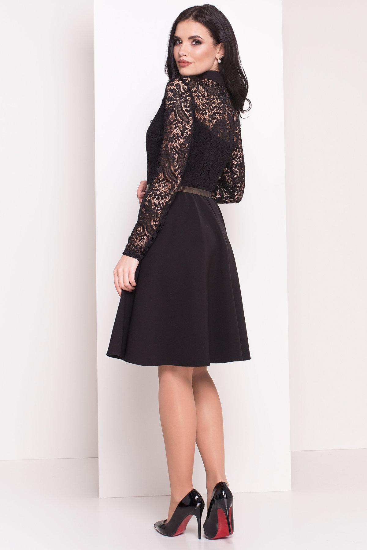 Платье с гипюровым верхом Элада 4188 Цвет: Черный