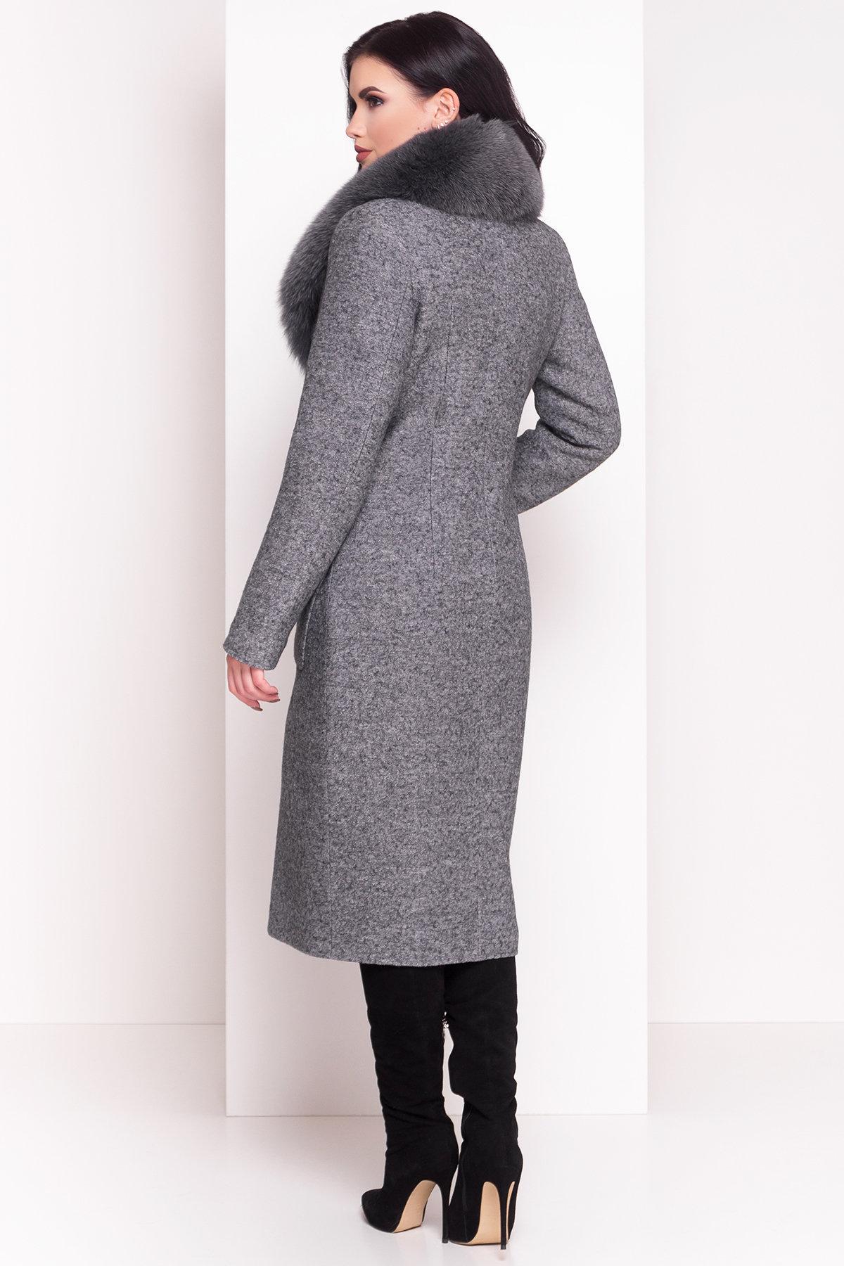 Зимнее пальто с воротником из песца Габриэлла 4150 АРТ. 20300 Цвет: Серый Темный LW-5 - фото 4, интернет магазин tm-modus.ru