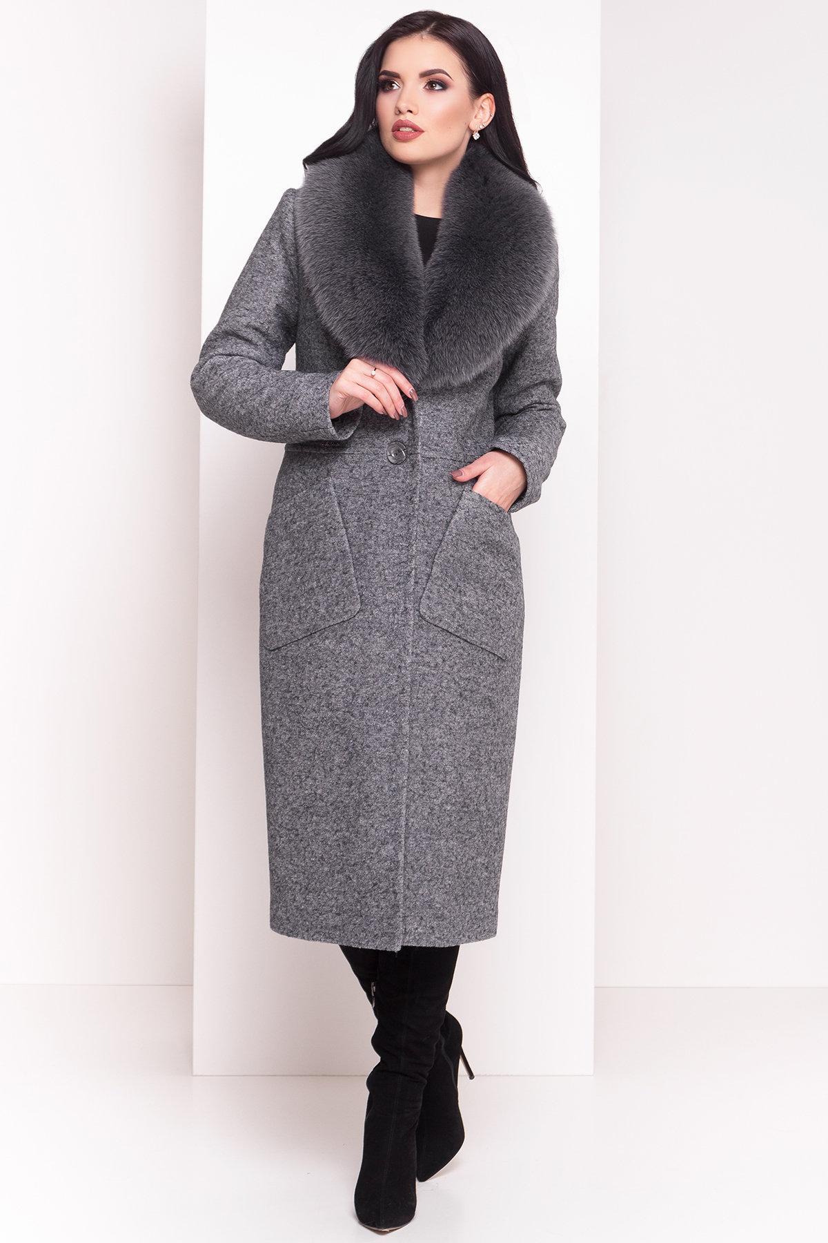 Зимнее пальто с воротником из песца Габриэлла 4150 АРТ. 20300 Цвет: Серый Темный LW-5 - фото 2, интернет магазин tm-modus.ru
