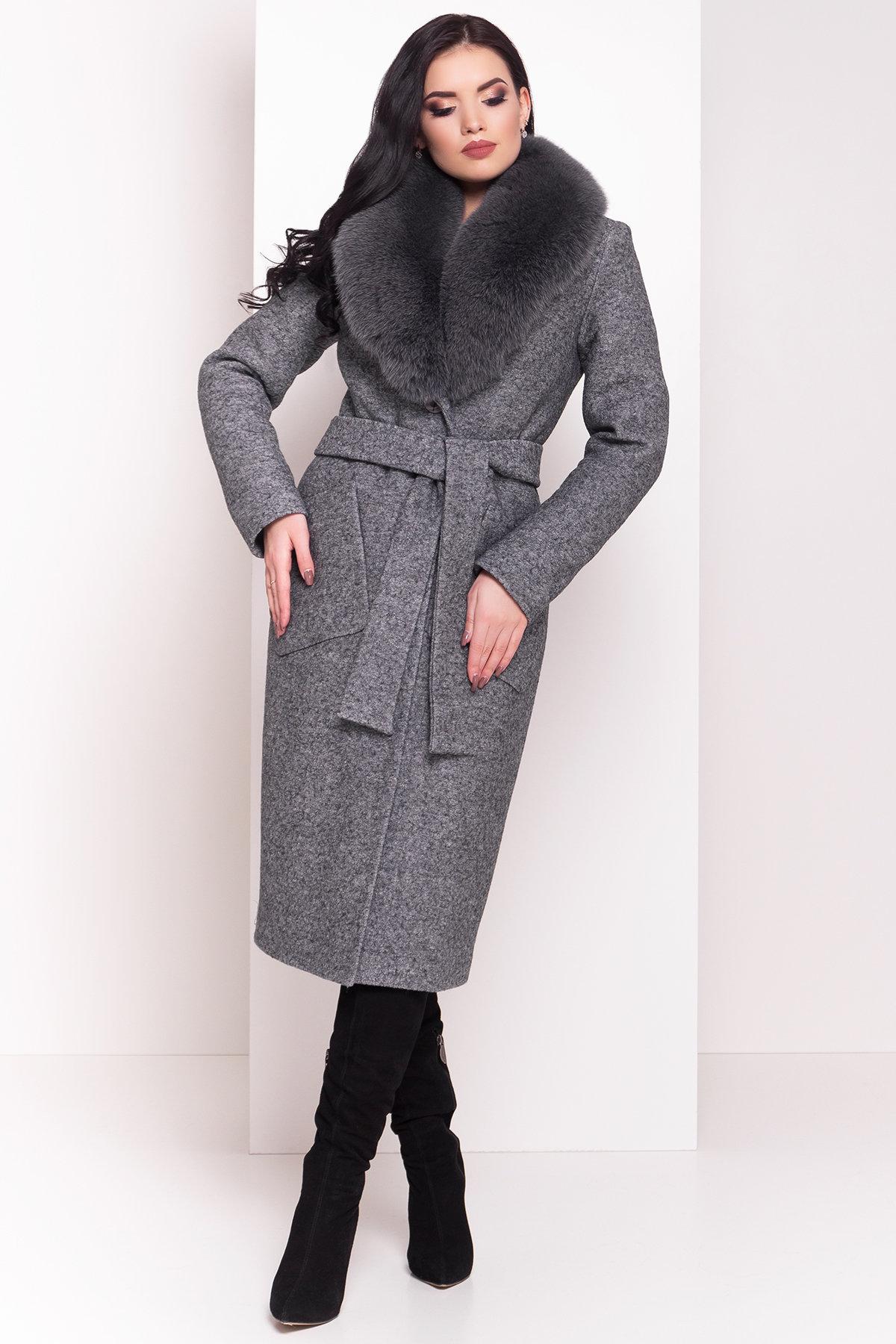 пальто зимнее от производителя Зимнее пальто с воротником из песца Габриэлла 4150