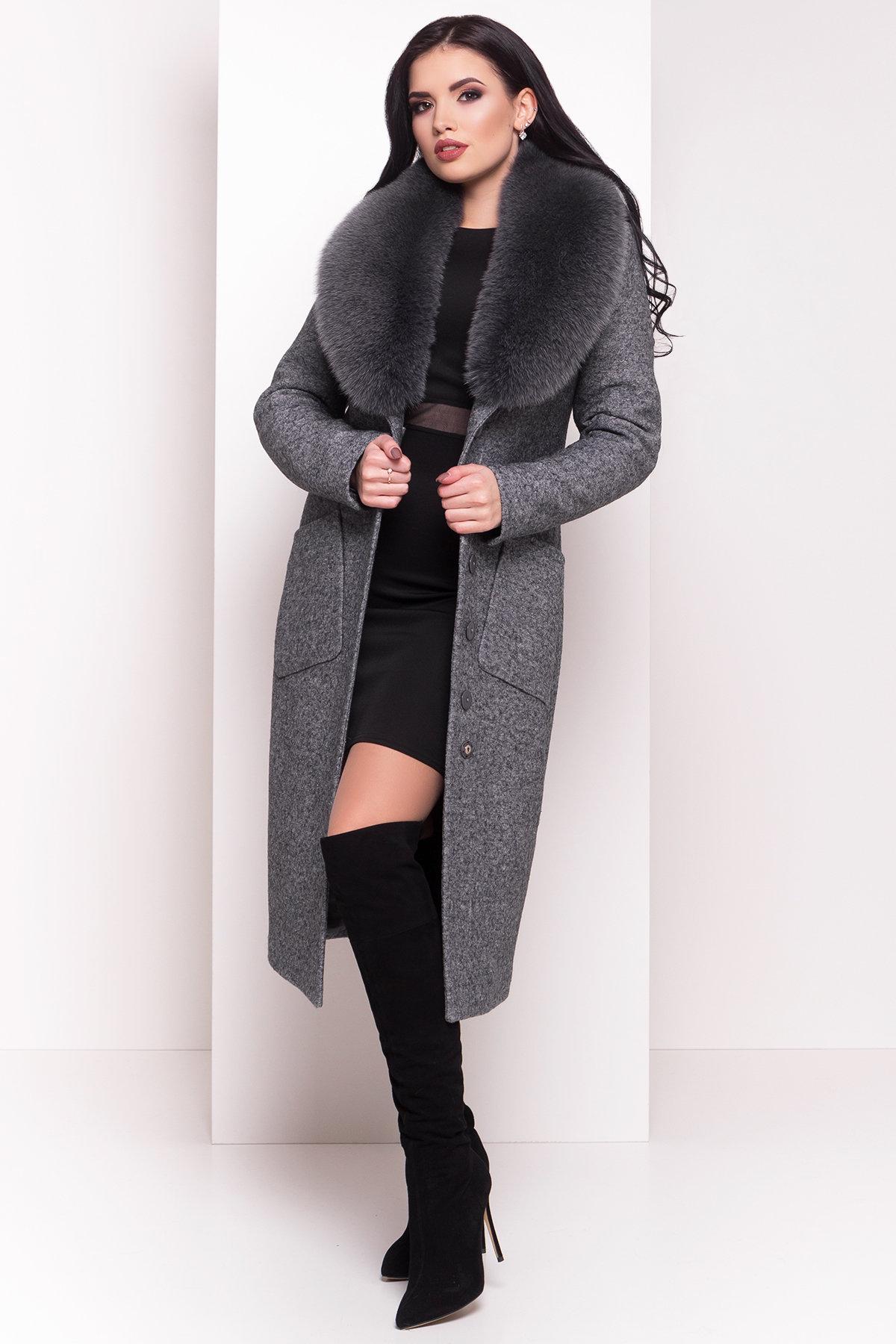 Зимнее пальто с воротником из песца Габриэлла 4150 АРТ. 20300 Цвет: Серый Темный LW-5 - фото 1, интернет магазин tm-modus.ru