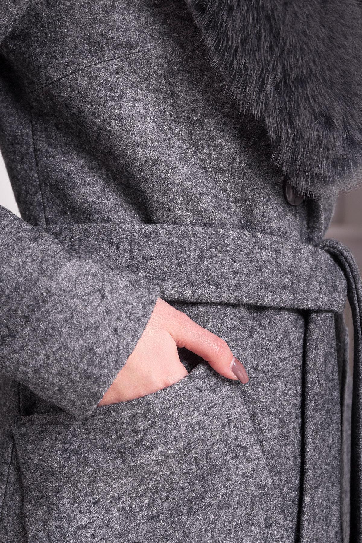 Зимнее пальто с воротником из песца Габриэлла 4150 АРТ. 20300 Цвет: Серый Темный LW-5 - фото 5, интернет магазин tm-modus.ru