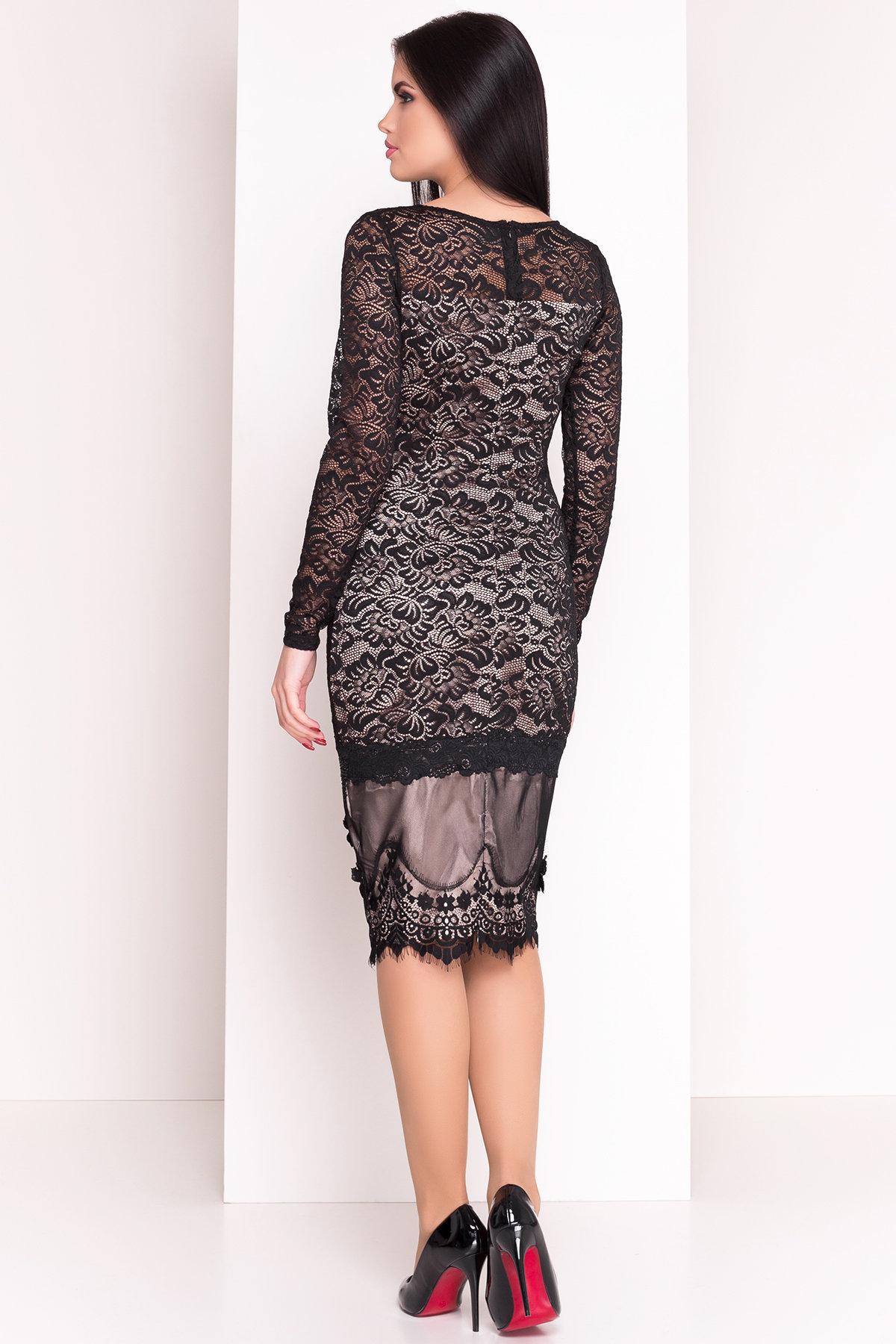 Платье Россини 4189 Цвет: Черн/беж вензеля/стразы