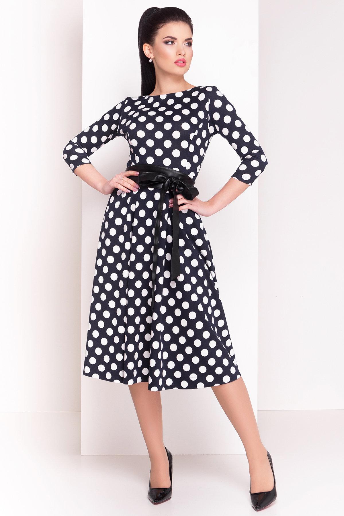 Платье Карен лайт 4835 Цвет: Темно-синий/горох белый