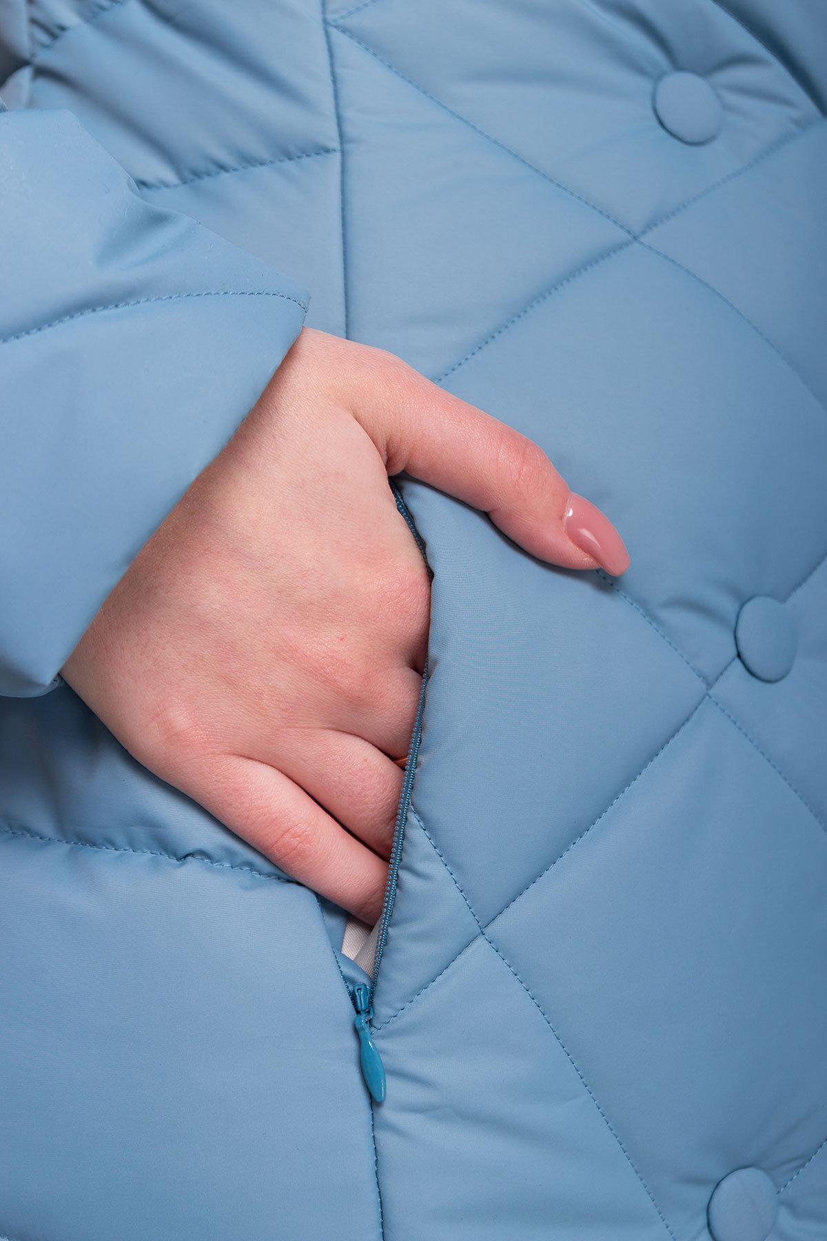 Стеганое демисезонное пальто-куртка Сандра 4526 АРТ. 21524 Цвет: Голубой - фото 4, интернет магазин tm-modus.ru
