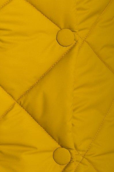 Стеганое демисезонное пальто-куртка Сандра 4526 Цвет: Горчица