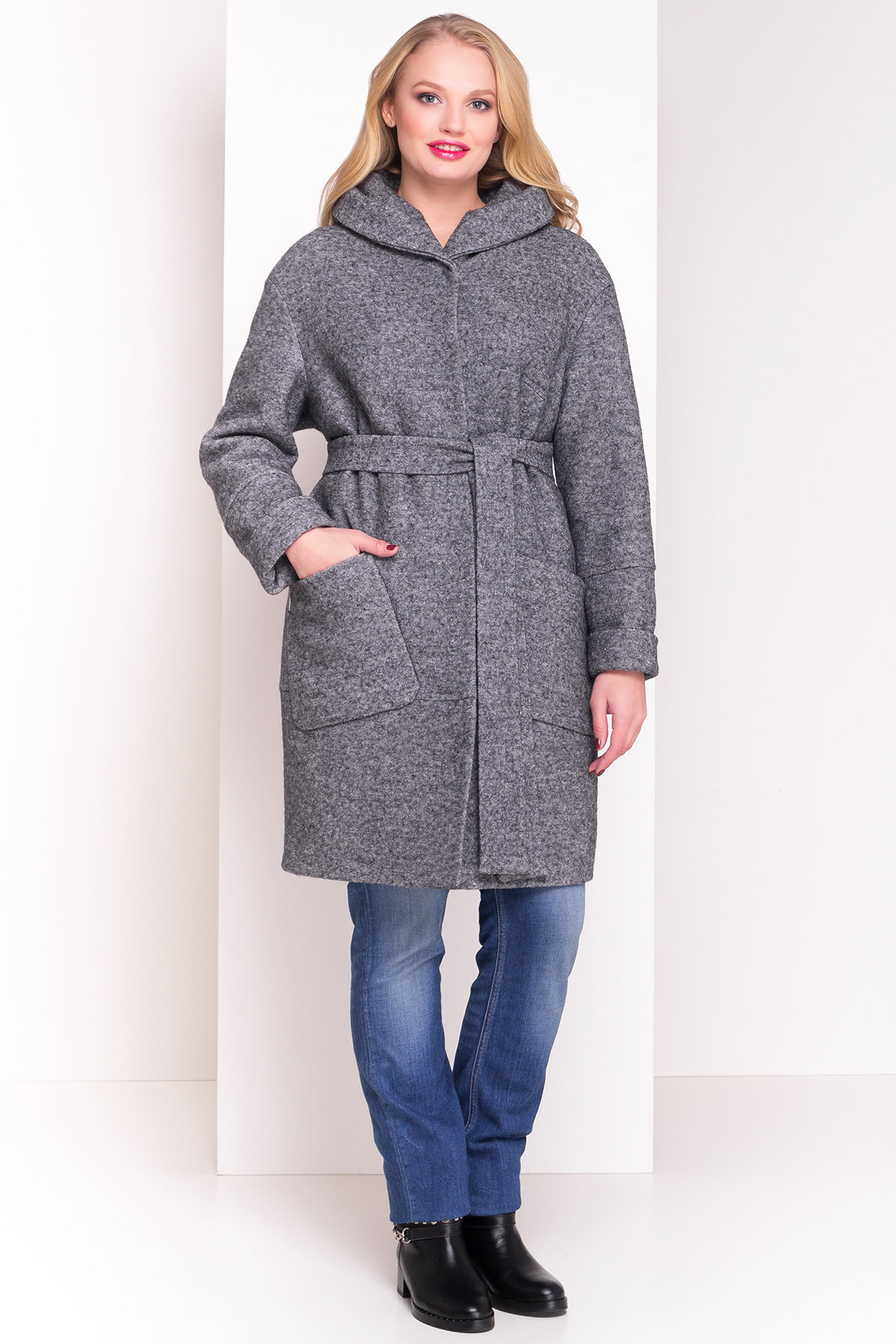 Пальто зима с капюшоном Анита Donna 3720 АРТ. 19290 Цвет: Серый Темный LW-5 - фото 2, интернет магазин tm-modus.ru