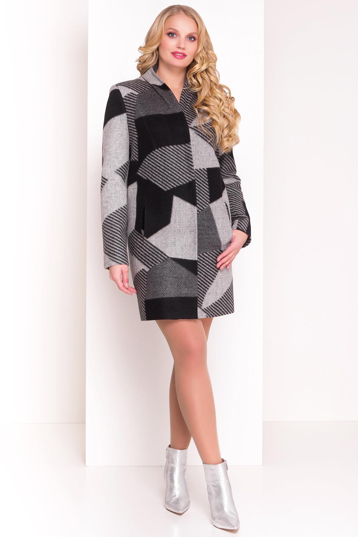 Пальто Арис 0446  Цвет: Черный / серый Д2/С1