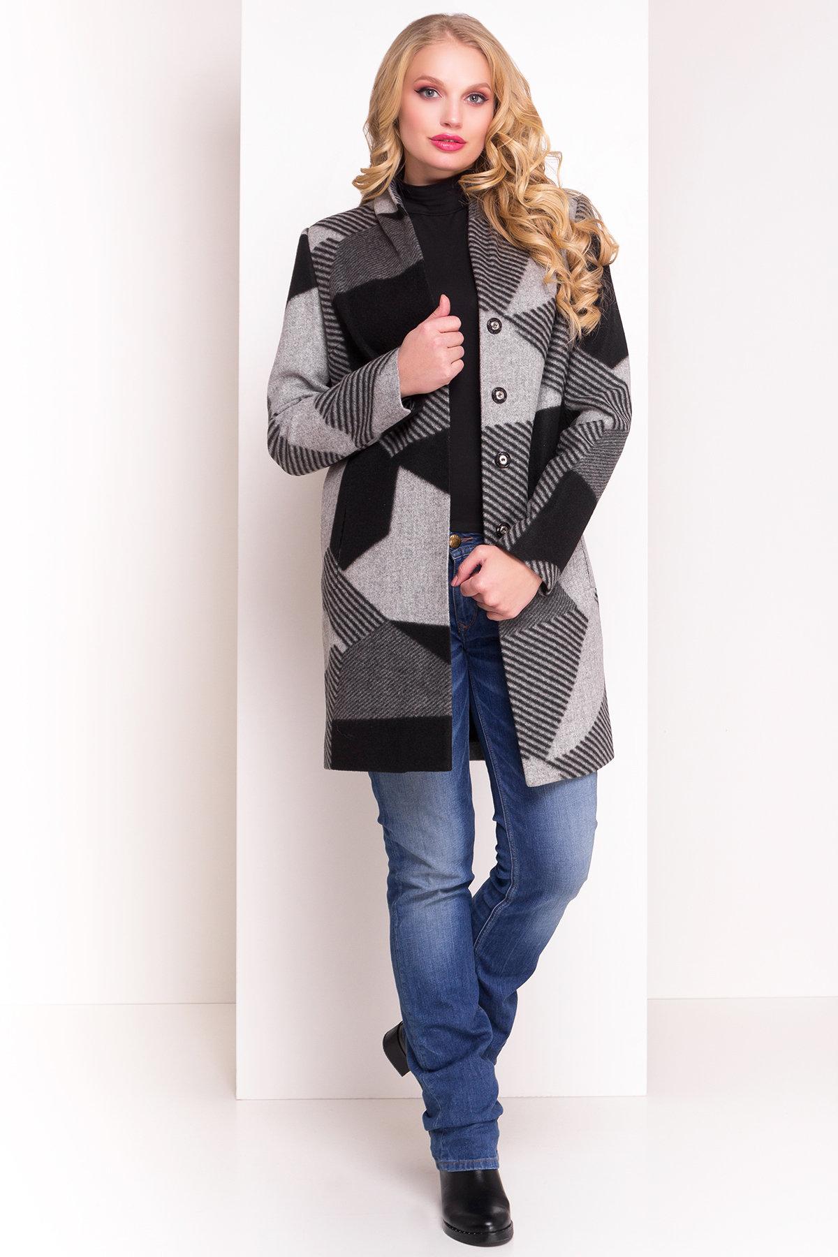 Пальто Арис 0446  АРТ. 6797 Цвет: Черный / серый Д2/С1 - фото 2, интернет магазин tm-modus.ru