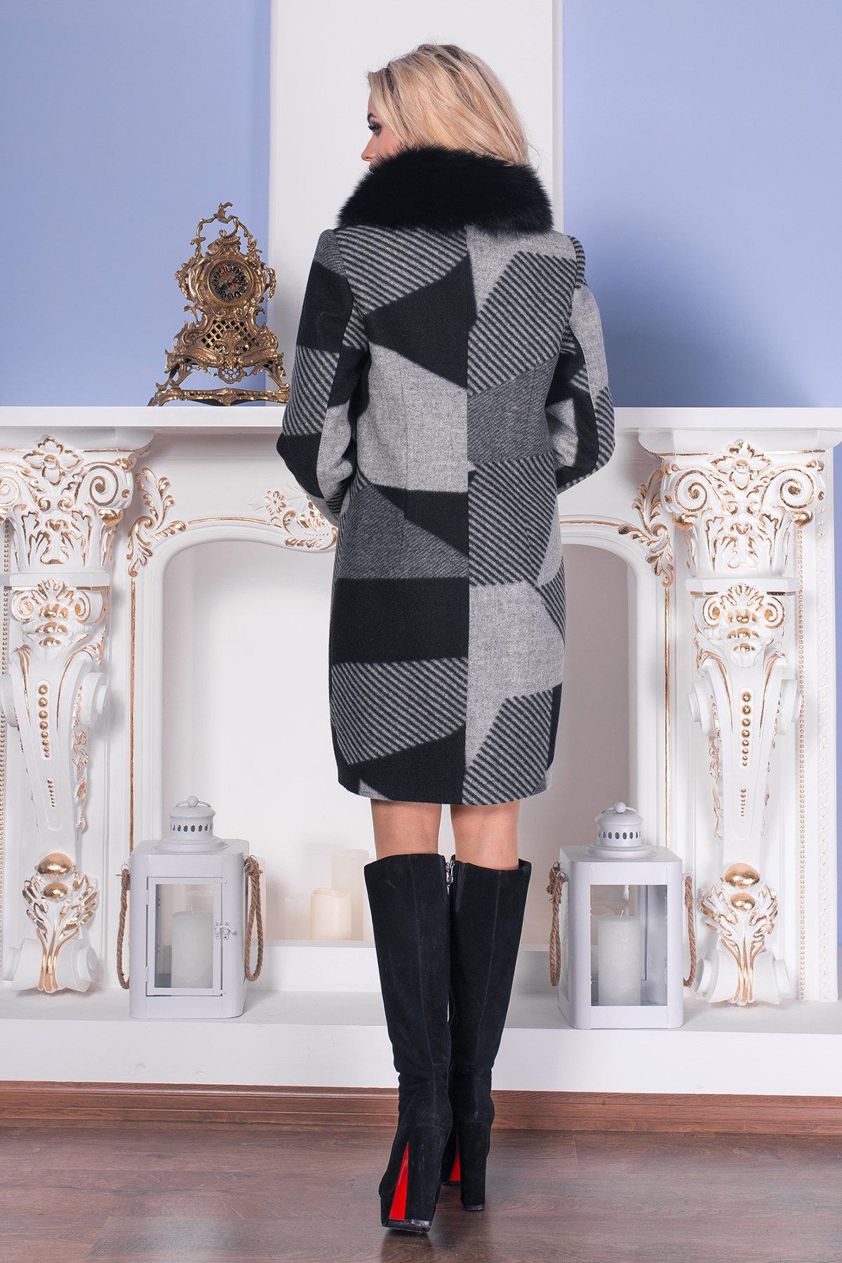 Пальто зима Марис 0649  Цвет: Черный/серый полос Д2/С1
