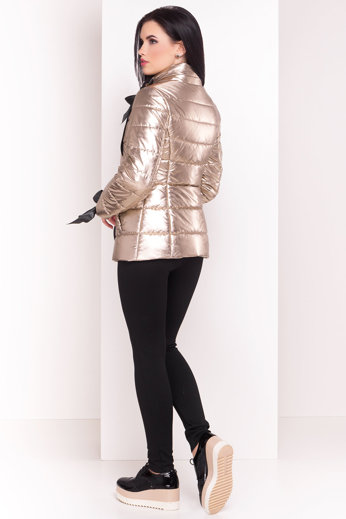 Куртка металлик Эллария 4589 АРТ. 21749 Цвет: Золото - фото 2, интернет магазин tm-modus.ru