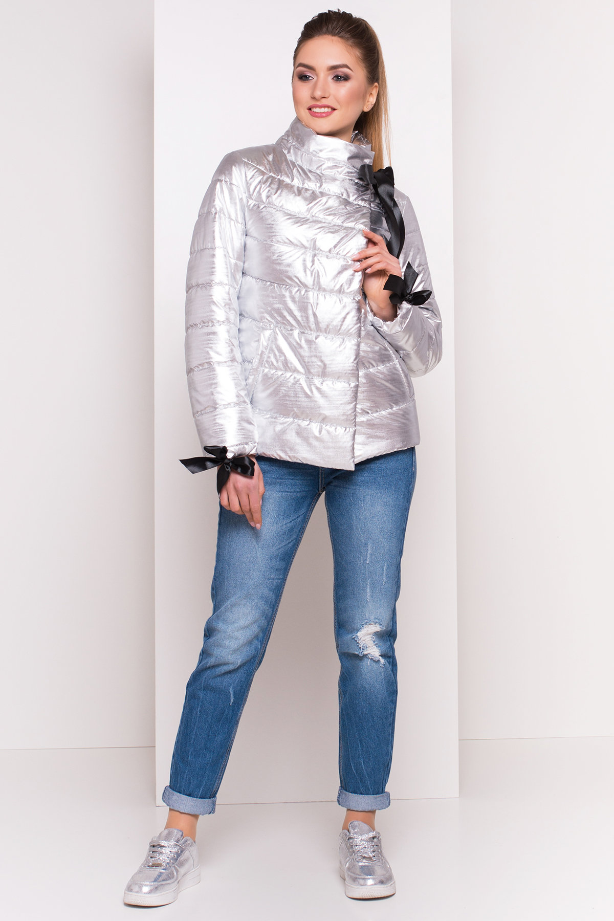парка женская купить Куртка металлик Эллария 4589