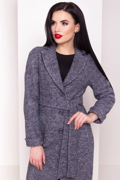 Демисезонное пальто из варенной шерсти с поясом Глорис 4428 Цвет: Серый темный LW-22