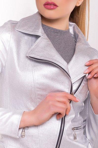 Легкий жакет с косой застежкой-молнией Байкер 4669 Цвет: Серебро