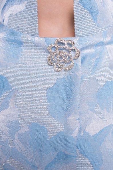 Укороченный плащ прямого кроя Флоренция 4674 Цвет: Голубой/серебро