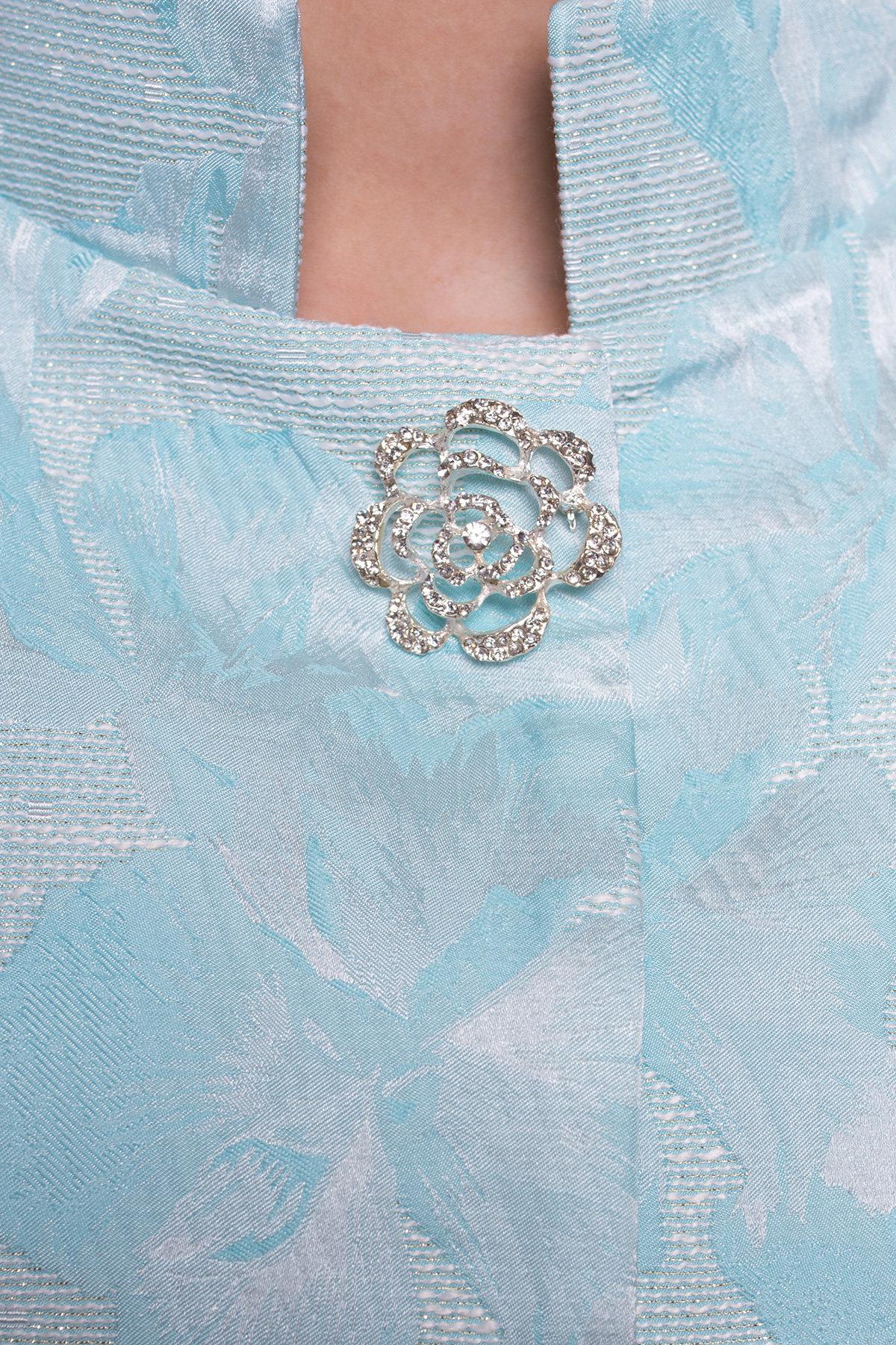 Укороченный плащ прямого кроя Флоренция 4674 Цвет: Бирюза/серебро