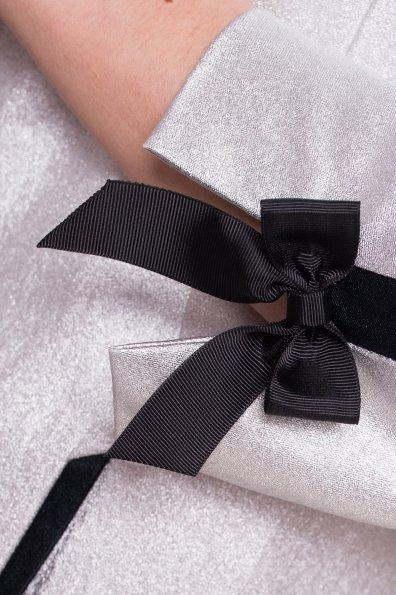 Стильный плащ с декором Дана 4673 Цвет: Серебро/черный