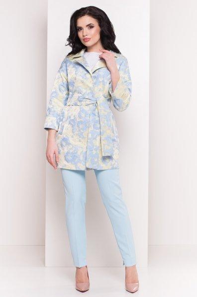 Плащ с отложным воротником Бали 2254 Цвет: Голубой/лимон