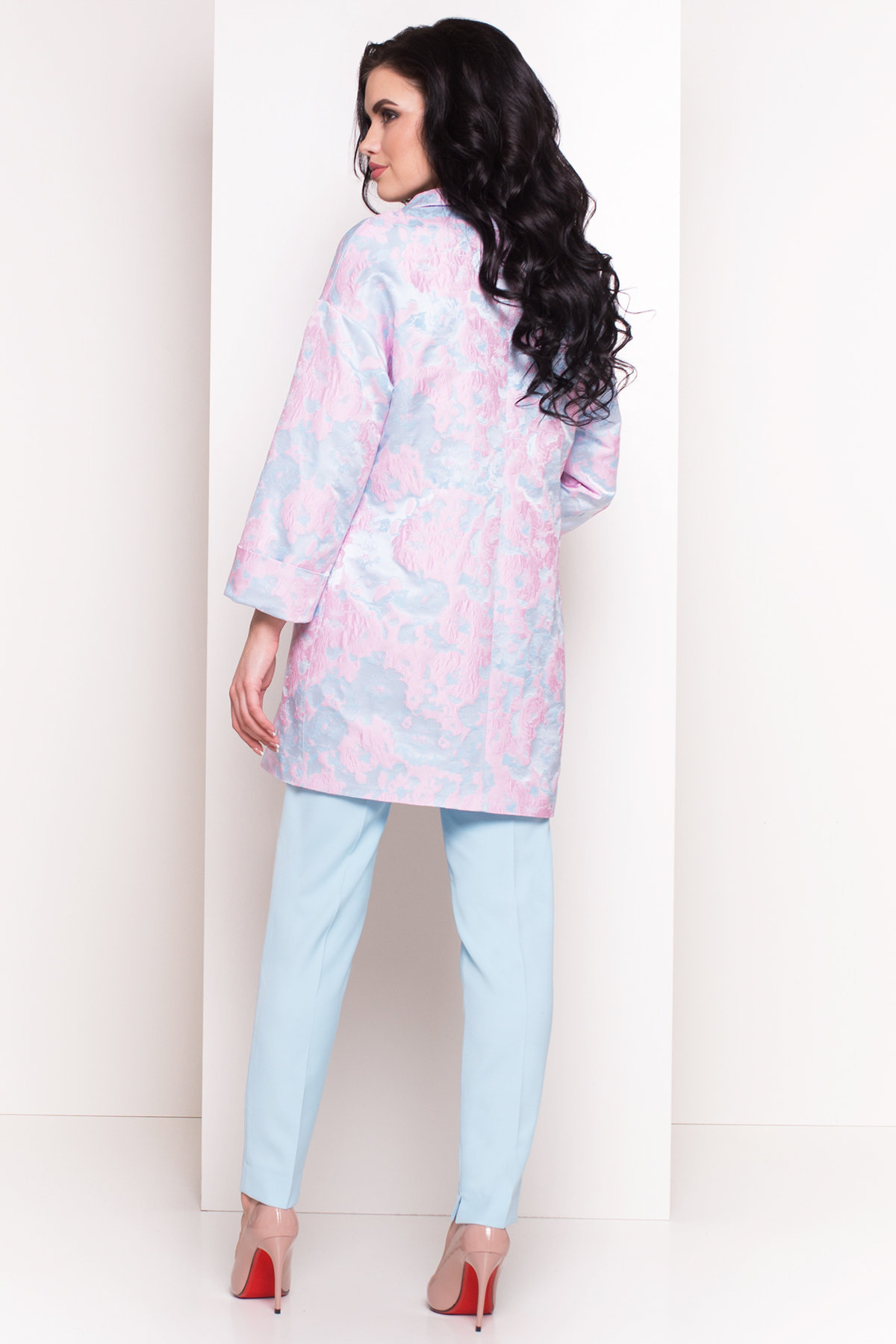 Плащ с отложным воротником Бали 2254 Цвет: Голубой/розовый
