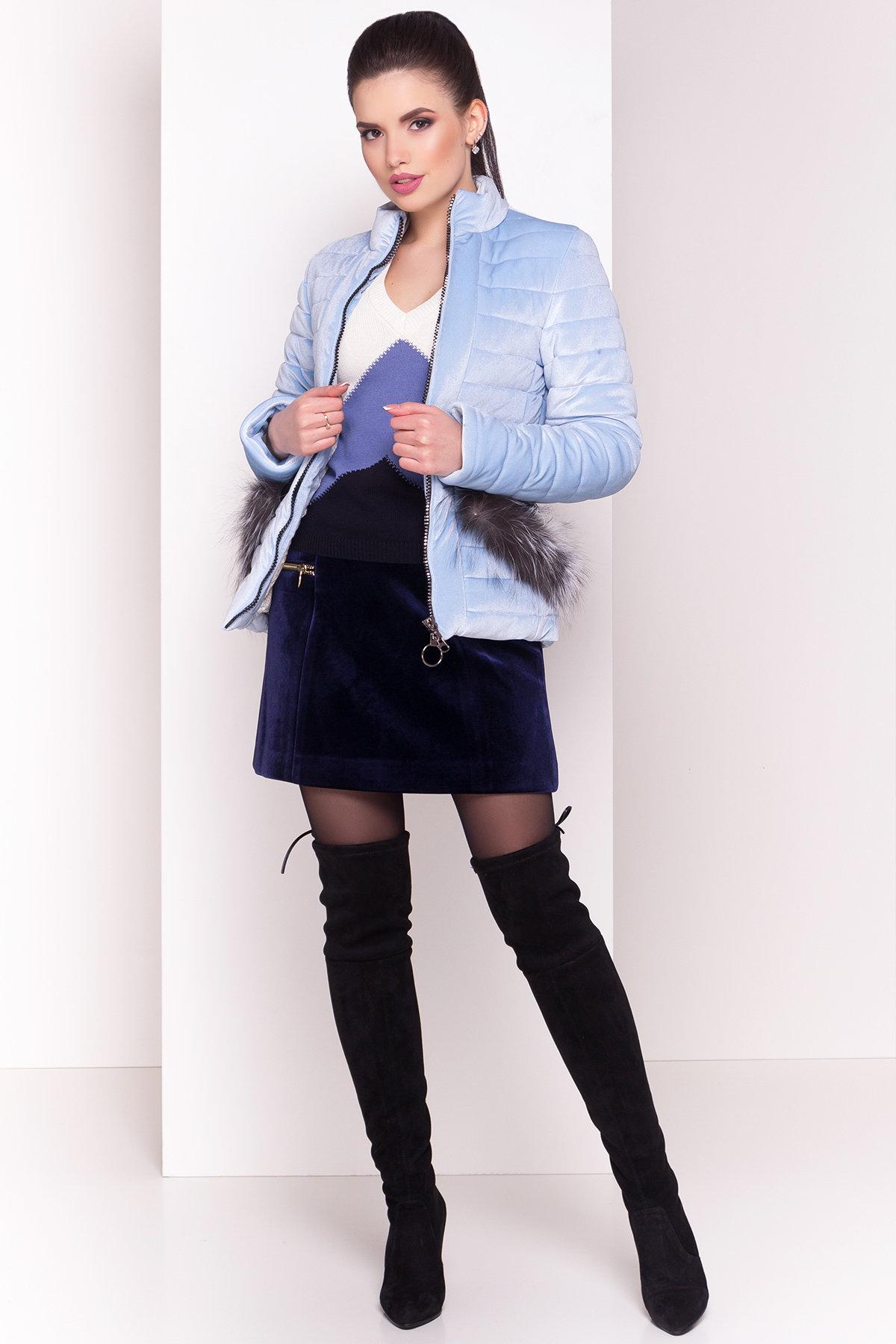 Куртка с мехом на карманах Дезире 4452 АРТ. 21968 Цвет: Голубой - фото 2, интернет магазин tm-modus.ru