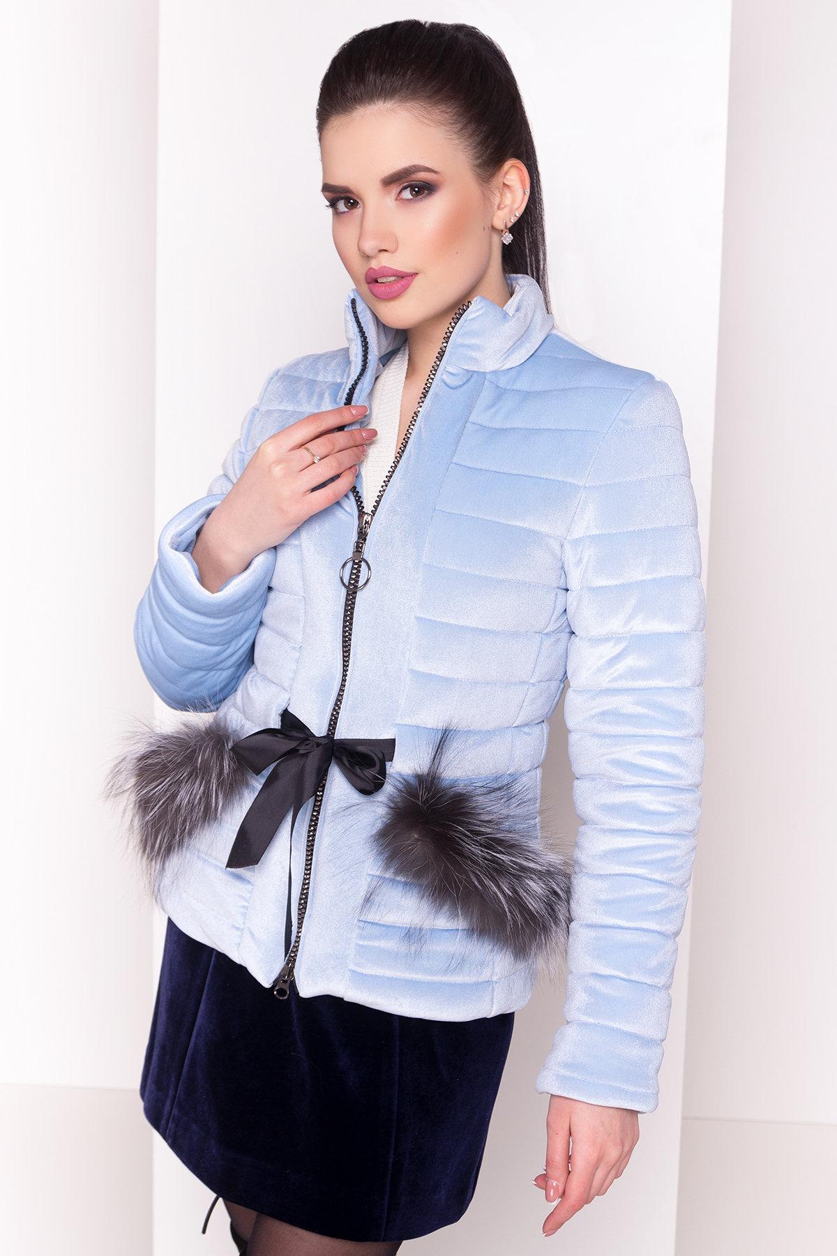 Куртка с мехом на карманах Дезире 4452 АРТ. 21968 Цвет: Голубой - фото 6, интернет магазин tm-modus.ru