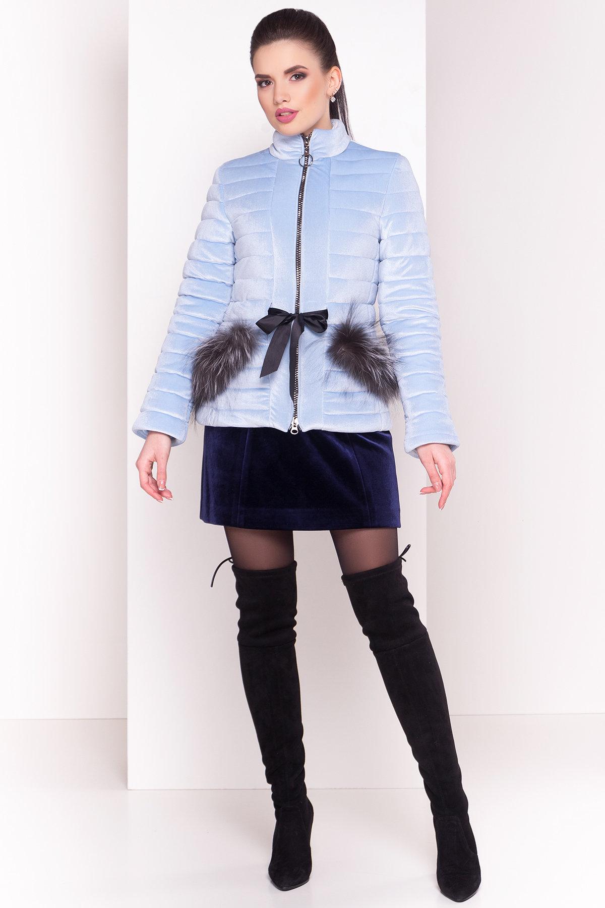 Куртка с мехом на карманах Дезире 4452 АРТ. 21968 Цвет: Голубой - фото 4, интернет магазин tm-modus.ru