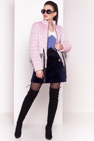 Куртка с мехом на карманах Дезире 4452 Цвет: Пудра