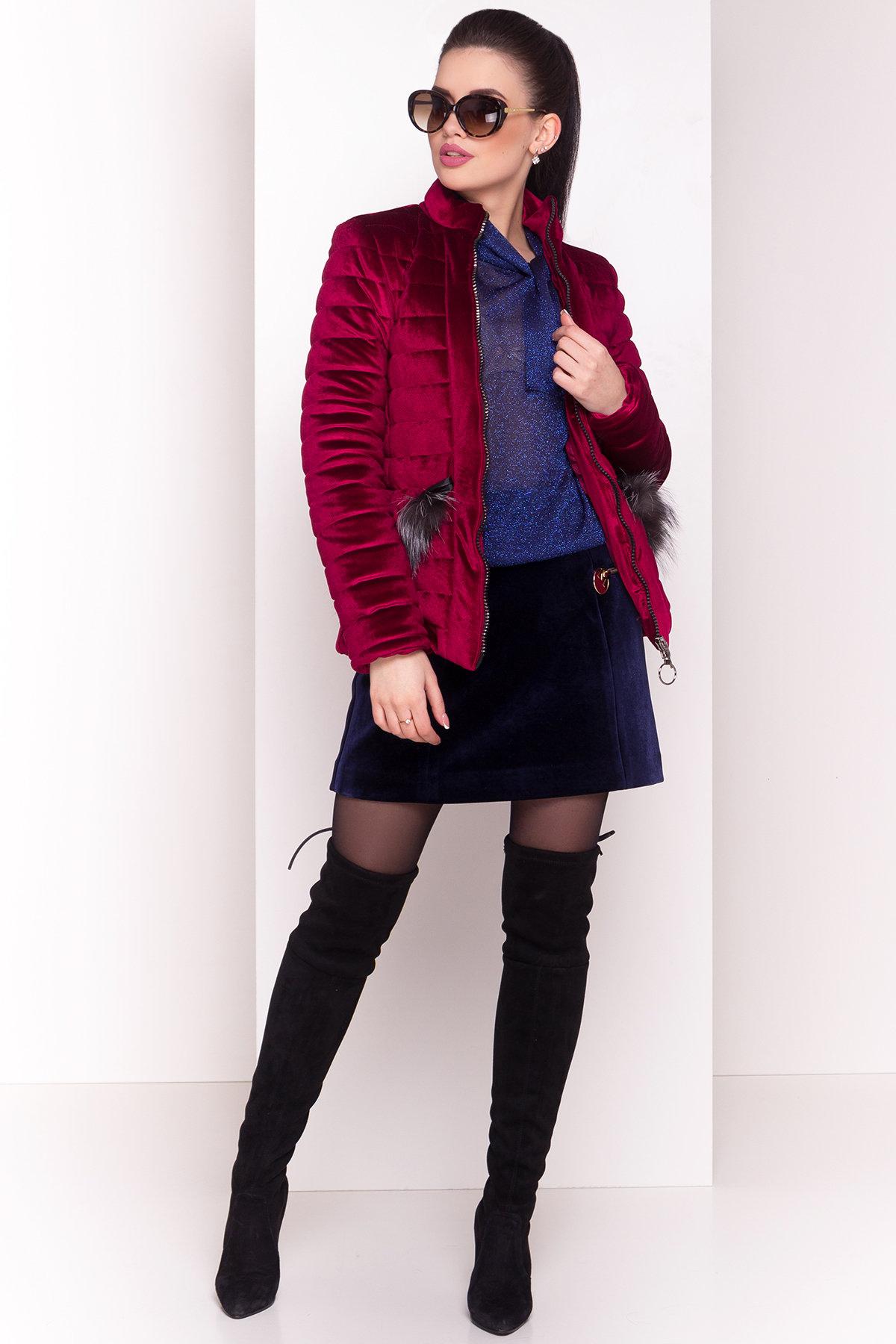 Куртка с мехом на карманах Дезире 4452 АРТ. 21637 Цвет: Марсала - фото 2, интернет магазин tm-modus.ru