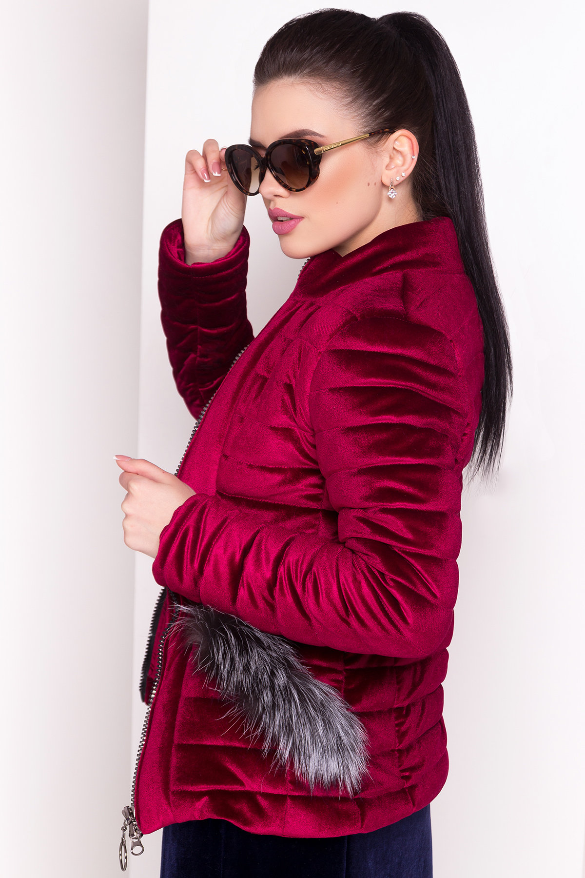Куртка с мехом на карманах Дезире 4452 АРТ. 21637 Цвет: Марсала - фото 4, интернет магазин tm-modus.ru